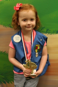 Her very first medal and trophy!